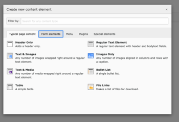 Modal Create new content element